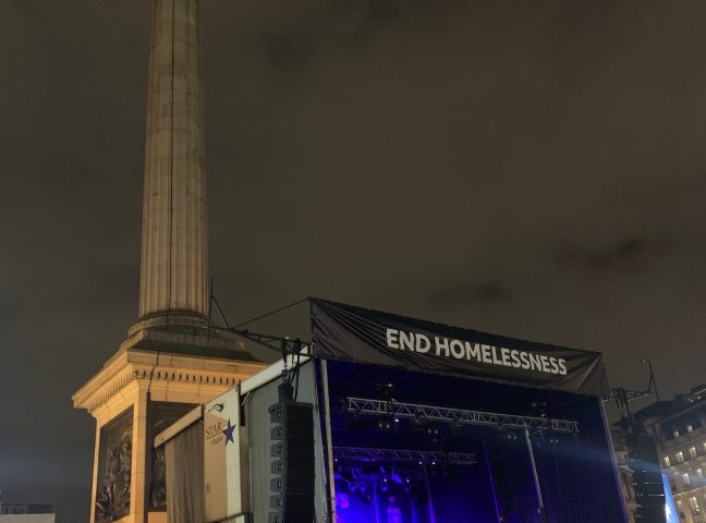 The World's Big Sleep Out – London's Trafalgar Square December 2019